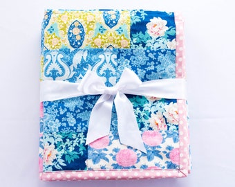 Handmade Baby Quilt, Floral Strip Quilt for Baby Girl Nursery with Pink Peonies, Polka-Dot & Paisley Prints, Minky Baby Blanket, Shower Gift