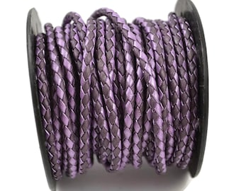 3mm Round Braided Leather - Metallic Chandi Berry - Purple Bolo Leather Cord