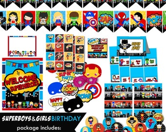 Superhero boy girl party birthday party package, instant download, superhero supergirl banner, cupcake toppers, thank you tags, welcome sign