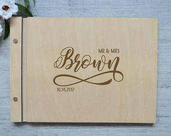 Personalized wedding guest book Wooden Guestbook Rustic Guest book Wedding book alternatives Wedding wish book last name signs Monogram