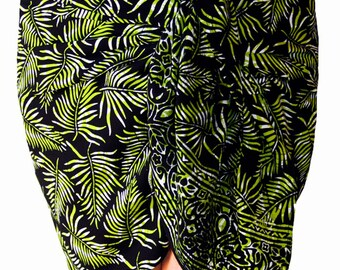 Black Beach Sarong Wrap Skirt Womens Clothing Hip Wrap Skirt - Short Sarong Skirt Hawaiian Beach Sarong - Black Tropical Leaf Batik Pareo