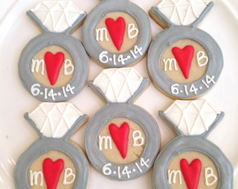 Engagement Cookies | Wedding Cookies | Wedding Shower Cookies | Save the Date Cookies | Bridal Shower Cookies | Engagement Party | One Dozen