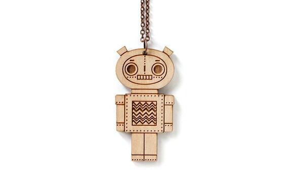 Robot pendant - boy - cute doll necklace - cute wooden jewelry - geek jewellery - lasercut wood - lasercutting