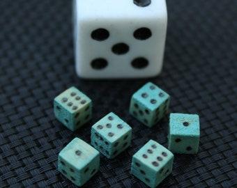 Miniature Handmade Dice - Antique Blue