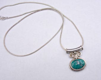 SALE Turquoise and Sterling Silver Vintage Necklace, Turquoise Pendant, NOW 65 WAS 75