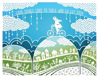 8x10 Print - Good Things - Original Papercut Illustration - Bicycle - Inspirational Quote