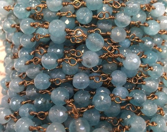 8mm Blue Jade beaded chain, 2 FEET of faceted chain, medium blue, wire wrapped, gold non tarnish wire, blue chain, beaded chain