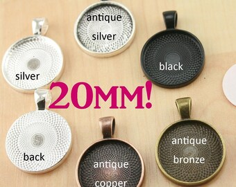 10 Kits-20mm GLASS (10), PENDANTS (10), 20mm SEALS (10 or 20), Vintage Chain- Photo Glass Jewelry, Pick your supplies. 5 Trendy Colors
