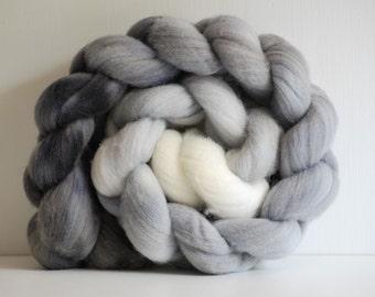 Hand painted Merino combed wool top - 4 oz. braid - Grey Gradient