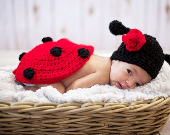 Photo Props  Crochet Little Lady Bug