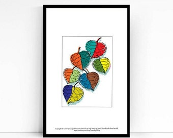 Colorful Kids Room Decor Leaf Print - 5x7 artwork - childrens wall art - rainbow Nature art print - Poster print - home & desk decor