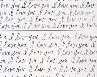 """Darling, I Love You Canvas   Set of 2 24x24"""" Large White Canvases   Ink Hand Lettered - Black Lettering   Quotes   Nursery & Home Decor  """