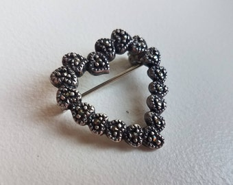 Silver Marcasite Heart Made of Hearts Brooch