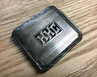 Vintage Sterling Monolinx Belt Buckle Art Deco 1930s debonair monogrammed HHC