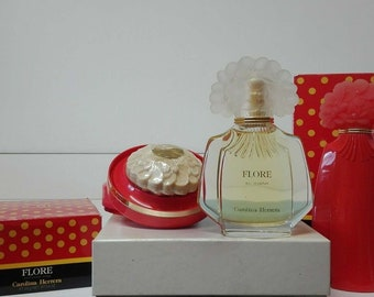 Flore by Carolina Herrera EDP 100ml (SPLASH) + Body Lotion 200ml + perfumed Soap 125g. * uncontinued Vintage *