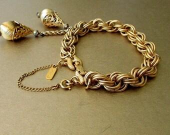 """Monet Bracelet Filigree Teardrop Charms 6-3/4"""""""