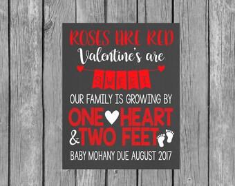 Valentine's Day Pregnancy Announcement Digital File - Pregnancy Announcement