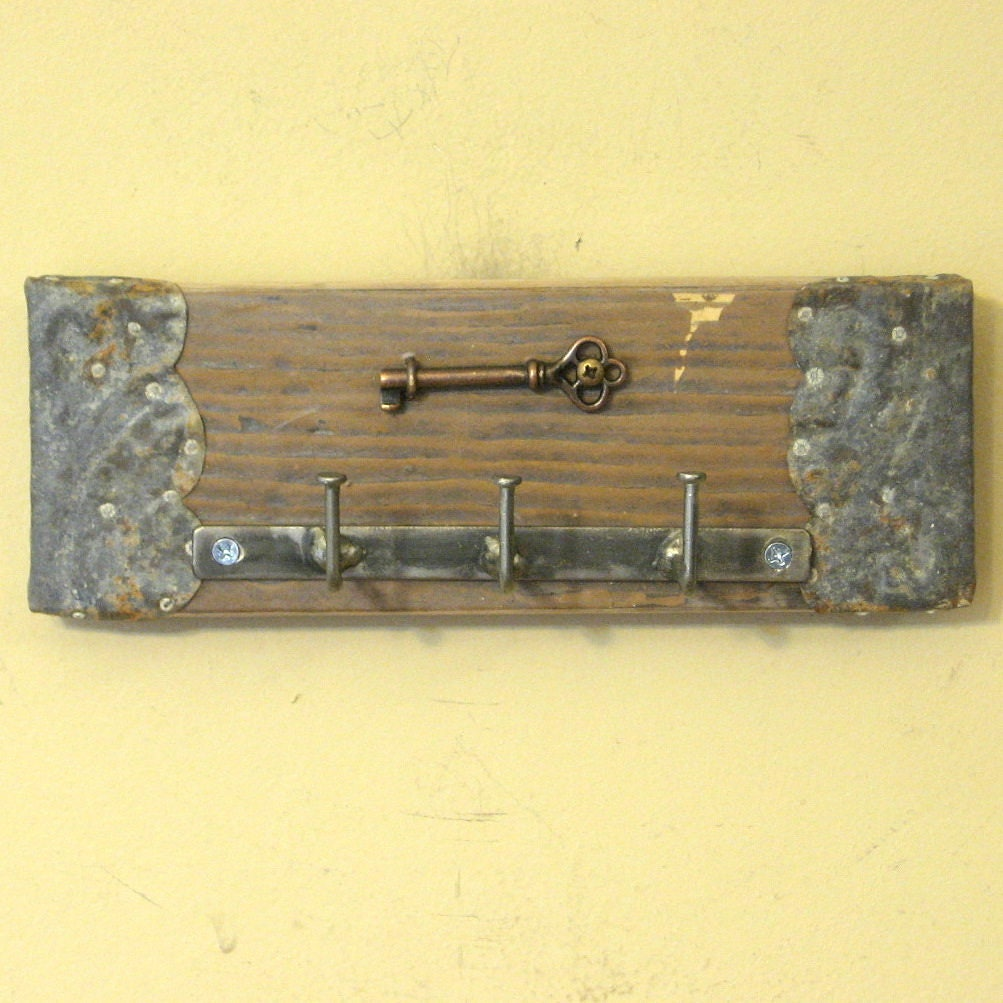 Wall Key Holder with Real Skeleton Key Wall Hanging Shabby