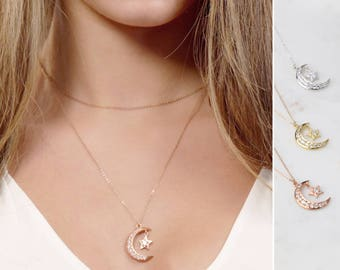CZ diamond Crescent Moon & Star • Dainty CZ Crescent Moon Necklace • Layering Necklace in Gold, Silver, Rose Gold by Infini168, I168-602M