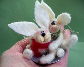 Bunny Buddies Felted Wool Ornament
