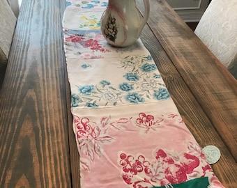 Vintage Floral Tablecloth Patchwork Table Runner