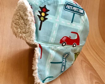 SALE Age 4-7 years - handmade children's aviator hat | Child's hat | Car hat | Trapper hat | Autumn Winter hat | Ear flaps | Transport cloth