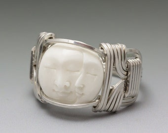Carved Bone (bovine) Double Moon Face Cameo Sterling Silver Wire Ring - Made to Order and Ships Fast!