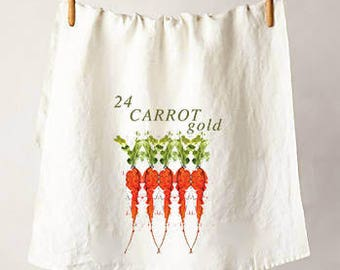 24 Carrot Gold Watercolor Flour Sack Tea Towel, Perfect Housewarming or Hostess Gift