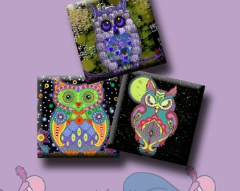 NIGHT OWLS -  Digital Collage Sheet 1 inch square images for pendants, magnets, decoupage, scrapbooking, etc. Instant Download #214.