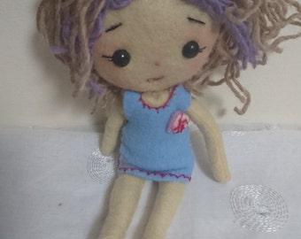 Cloth doll + fabric Doll Handmade art Felt plush doll