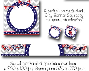 4th of July Etsy Banner Set - Patriotic American Red White and Blue - Patriotic Etsy Cover, DIY Graphics