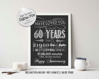 I Have Loved You For 60 Years Timeline Poster, Anniversary Gift, Digital File, Instant Download