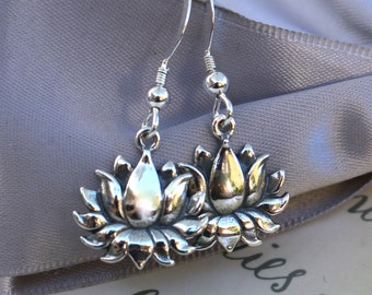 Sterling Lotus Flowers with Sterling earwires