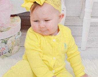 Yellow Baby Headband.Baby Bow.Lace Headband.Yellow Bow.Yellow Headband.Baby Hair Bows.Baby Girl Headband.Baby Lace Headband.Yellow.Hairbow