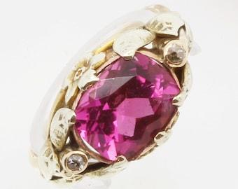 Antique Arts & Crafts Ring Gold Botanic Setting Pink Tourmaline Diamond (#6123)