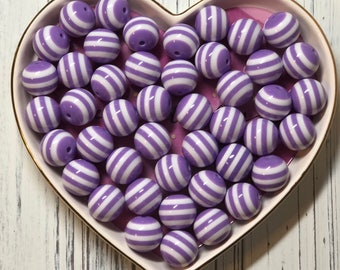 Chunky Striped Beads Purple and White 20MM