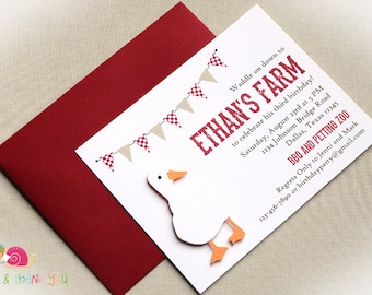 Vintage Farm Invitations · A2 FLAT · Red and Khaki · Birthday Party   Petting Farm   Duck