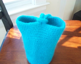 Turquoise circle felted clutch