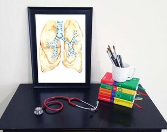 Medical Anatomy Art- Stunning Watercolour Lung PRINT
