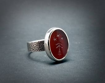 Tree and Stars 18mm Carnelian Intaglio Ring Made to Order