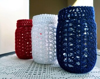 Set of 3 red white blue patriotic crochet mason jar covers