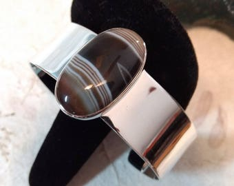 BANDED SARDONYX Stone STATEMENT Cuff Bracelet Sterling Silver Wide Band Wow!