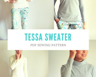 Tessa Sweater and Sweater Dress Pattern PDF sewing tutorial including sizes 4 to 22