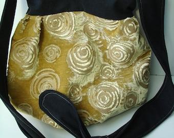Gelb und schwarz dekorative Velours Hobo Bag - Tasche - versandbereit