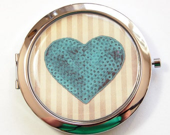 Heart compact mirror, Pocket mirror, compact mirror, mirror, Heart pocket mirror, heart, love, gift for bride, bridal shower, Teal (3146)