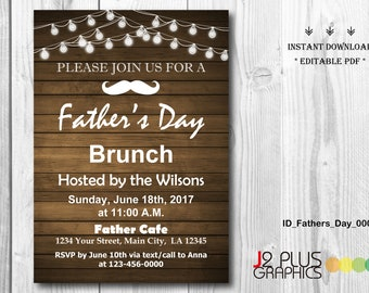 INSTANT DOWNLOAD Fathers Day Brunch Invitation Printable, Fathers Day Invitation Instant Download, Father's Day Party Invites, Editable pdf