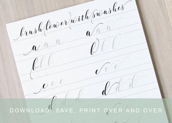 Brush lettering worksheet calligraphy swashes learn brush