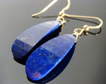 14K Solid Gold Lapis Lazuli Petals Large Stone Earrings