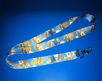 "Adventure Time {L7} 1"" Thick Badge Lanyard with Hanger Clip Finn the Human Jake the Dog"