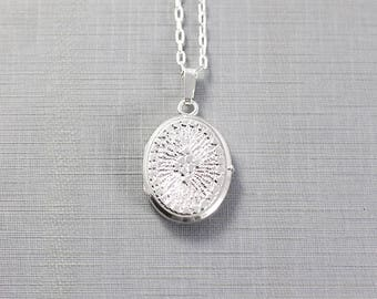 Small Oval Sterling Silver Locket Necklace, Sparkling Photo Locket - Sundial